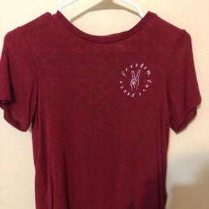 burgundy h&m shirt